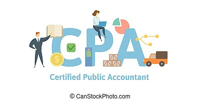 CPA, Certified Public Accountant. Concept with keywords, letters and icons. Flat vector illustration. Isolated on white background.