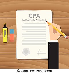 cpa certified public accountant with paper and sign hand