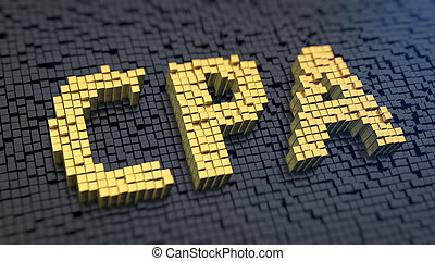 CPA cubics - Acronym 'CPA' of the yellow square pixels on a...