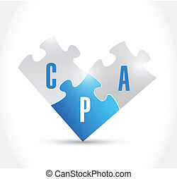 cpa puzzle pieces illustration design over a white ...