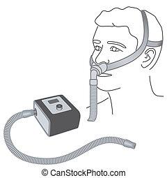 cpap, apnea, máscara, sueño, nariz, almohada