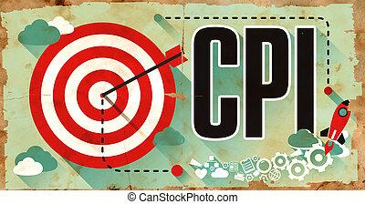 cpi., ポスター, 中に, 平ら, design., ビジネス, concept.