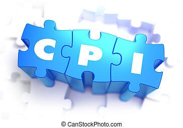 cpi, -, blanco, palabra, en, azul, puzzles.