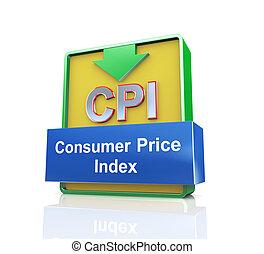 cpi, concept, indice, coût, -, consommateur, 3d