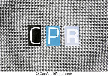 cpr, (cardiopulmonary, resuscitation), 縮寫, 傷口, 從, 報紙