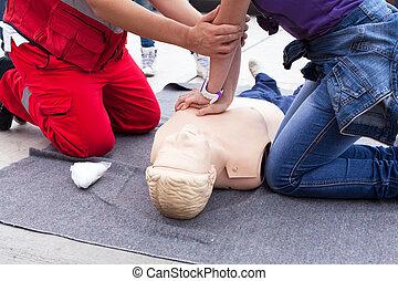 First aid training. Cardiopulmonary resuscitation.