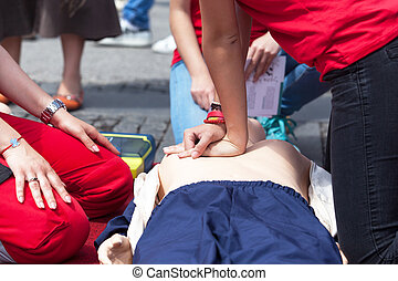 CPR. First aid training.