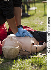 CPR training - CPR practice on dummy