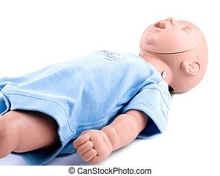 cpr, traning, infant, attrap, på hvide