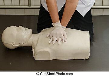 cpr, vacío, entrenamiento, resucitado, enfermera