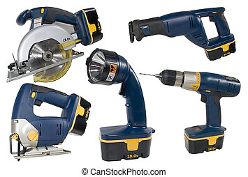 Set of cordless tools isolated