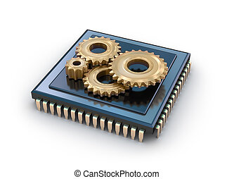 Cpu and gears  - Cpu and gears, concept icon
