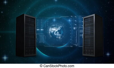 Digital animation of two servers splitting to show information and data around the world while background shows dark galaxy like with stars and glowing circles
