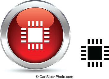 Cpu  button. -  Cpu  realistic button. Vector illustration.