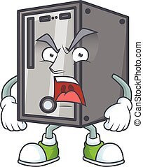 CPU cartoon character design with angry face