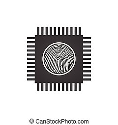 CPU central processing unit with fingerprint, security concept, Computer chip or microchip icon. vector illustration isolated on white background.