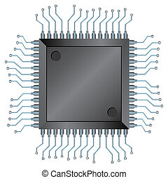 CPU chip - Electronic semiconductor integrated component