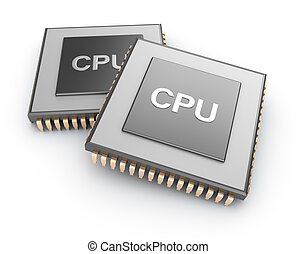 Cpu chips over white background