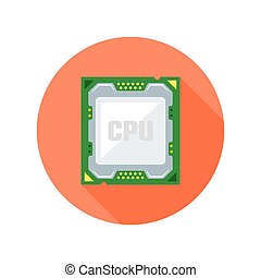 CPU computer chip flat style vector round icon