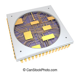 CPU Comuter chip, inside view. isolated