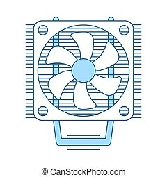CPU Fan Icon. Thin Line With Blue Fill Design. Vector...