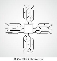 CPU flat icon. Vector illustration.