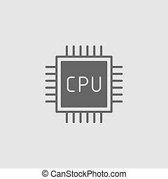 CPU. Flat vector icon