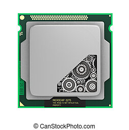 CPU. Gears inside processor isolated on a white background