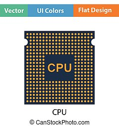 CPU icon. Flat color design. Vector illustration.