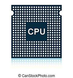 CPU icon. Shadow reflection design. Vector illustration.