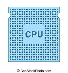 CPU Icon. Thin Line With Blue Fill Design. Vector...