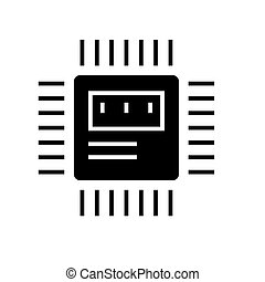 cpu icon, vector illustration, black sign on isolated background