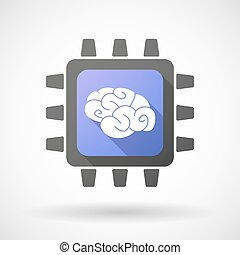 cpu, icona, con, uno, cervello
