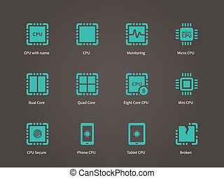 CPU icons set (central processing unit).