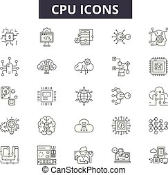 Cpu line icons, signs, vector set, linear concept, outline illustration