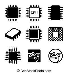 CPU Microprocessor and Chips Icons Set. Vector