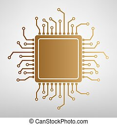 CPU Microprocessor. Flat style icon
