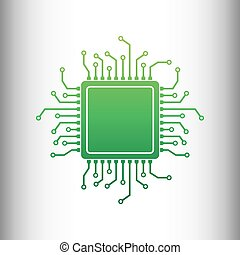 CPU Microprocessor. Green gradient icon