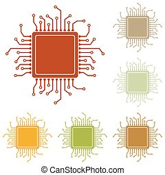 CPU Microprocessor illustration. Colorful autumn set of...