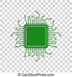 CPU Microprocessor illustration. Dark green icon on transparent background.