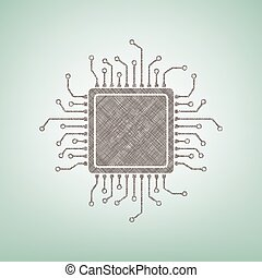 CPU Microprocessor illustration. Vector. Brown flax icon on green background with light spot at the center.