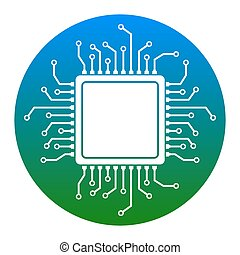 CPU Microprocessor illustration. Vector. White icon in...