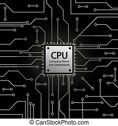 Cpu. Microprocessor. Microchip and Circuit board.