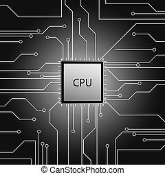 Cpu. Microprocessor. Microchip. Circuit board.