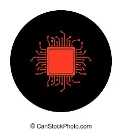 CPU Microprocessor. Red vector icon