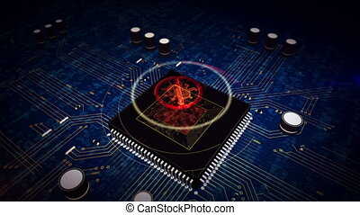CPU on board with antivirus hologram display - Digital ...