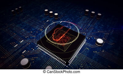CPU on board with cloud hologram display - Digital computing...