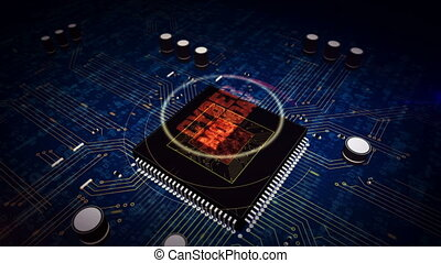 CPU on board with cyber monday hologram - Cyber monday...