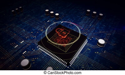 CPU on board with padlock hologram display - Cyber security...