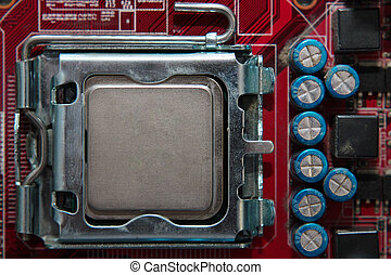 cpu, presa, su, scheda madre, con, installed, uno, processore